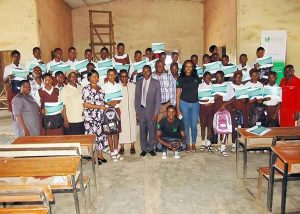 Anglican Grammar School Ogbomosho Student Beneficiaries of the IAF Scholarship with the Princpal and IAF team during the Scholarship Awards